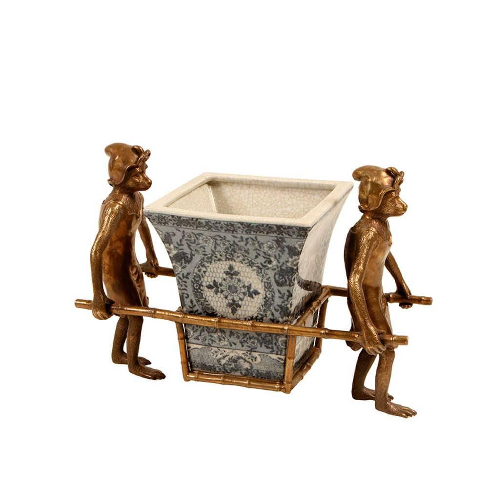 Vaso Macacos em Porcelana com Detalhes de Metal Banhado a Bronze - 39x23 cm