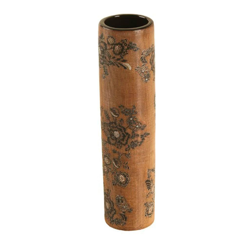 Vaso Marrom e Preto com Efeito Rendado Grande em Porcelana - 40x10 cm
