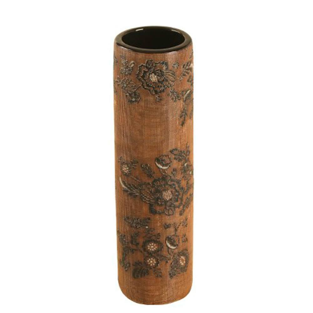 Vaso Marrom e Preto com Efeito Rendado Médio em Porcelana - 33x9 cm