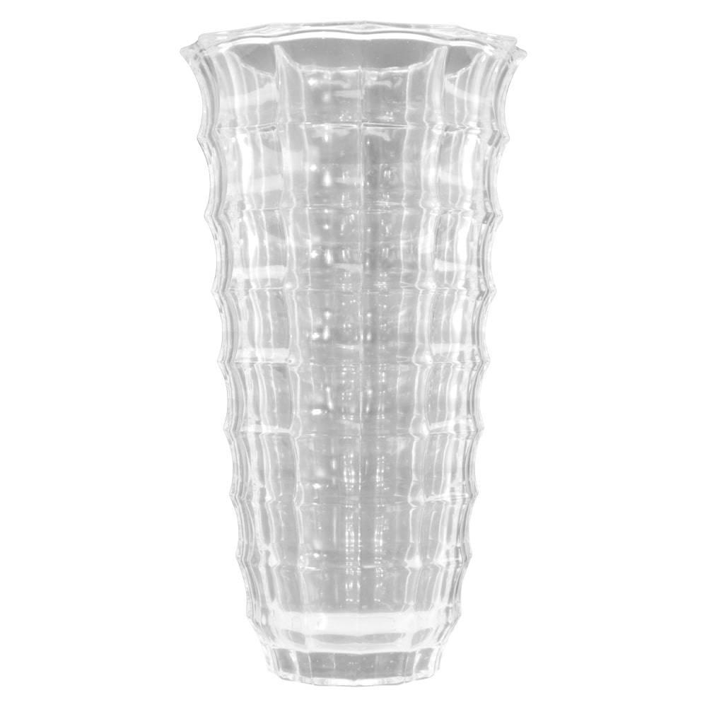 Vaso Martinê Transparente c/ Relevo em Vidro - 25x14 cm