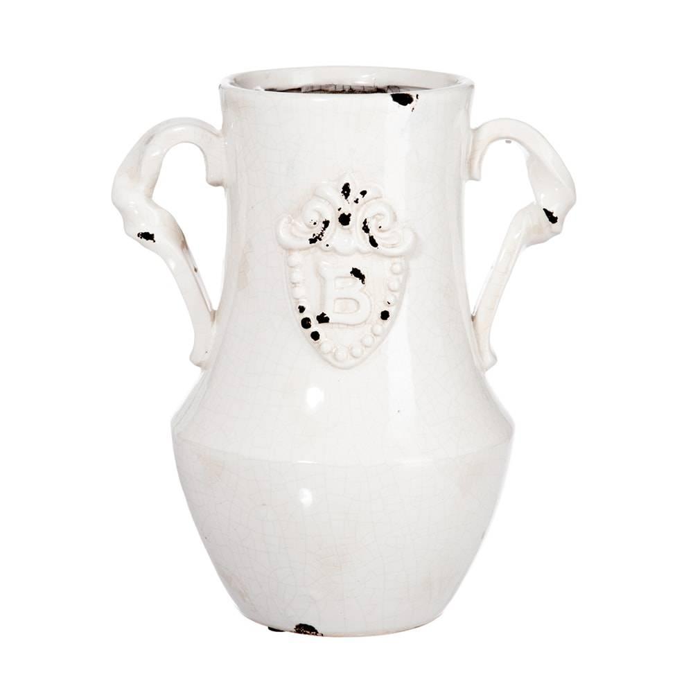 Vaso Medail Branco em Cerâmica - 26x17 cm