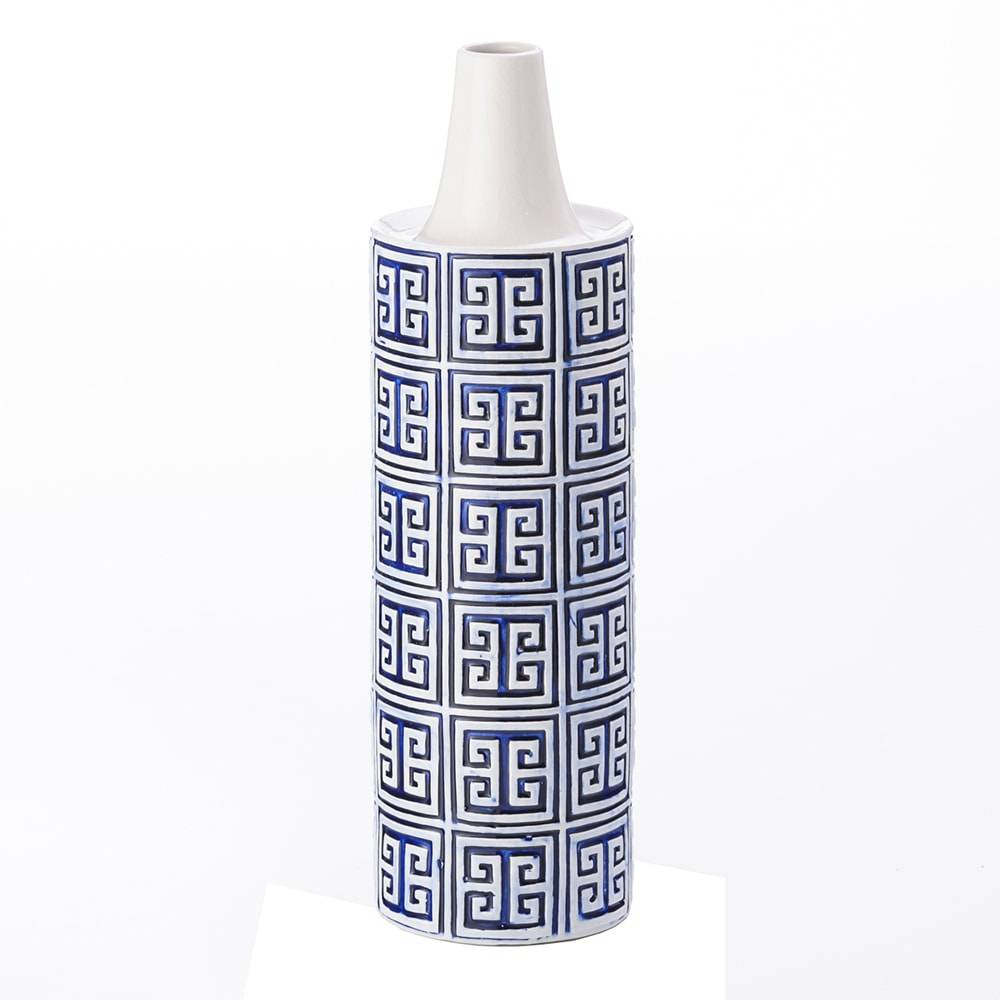 Vaso Ming Azul em Cerâmica - Lyor Classic - 42,2x15 cm
