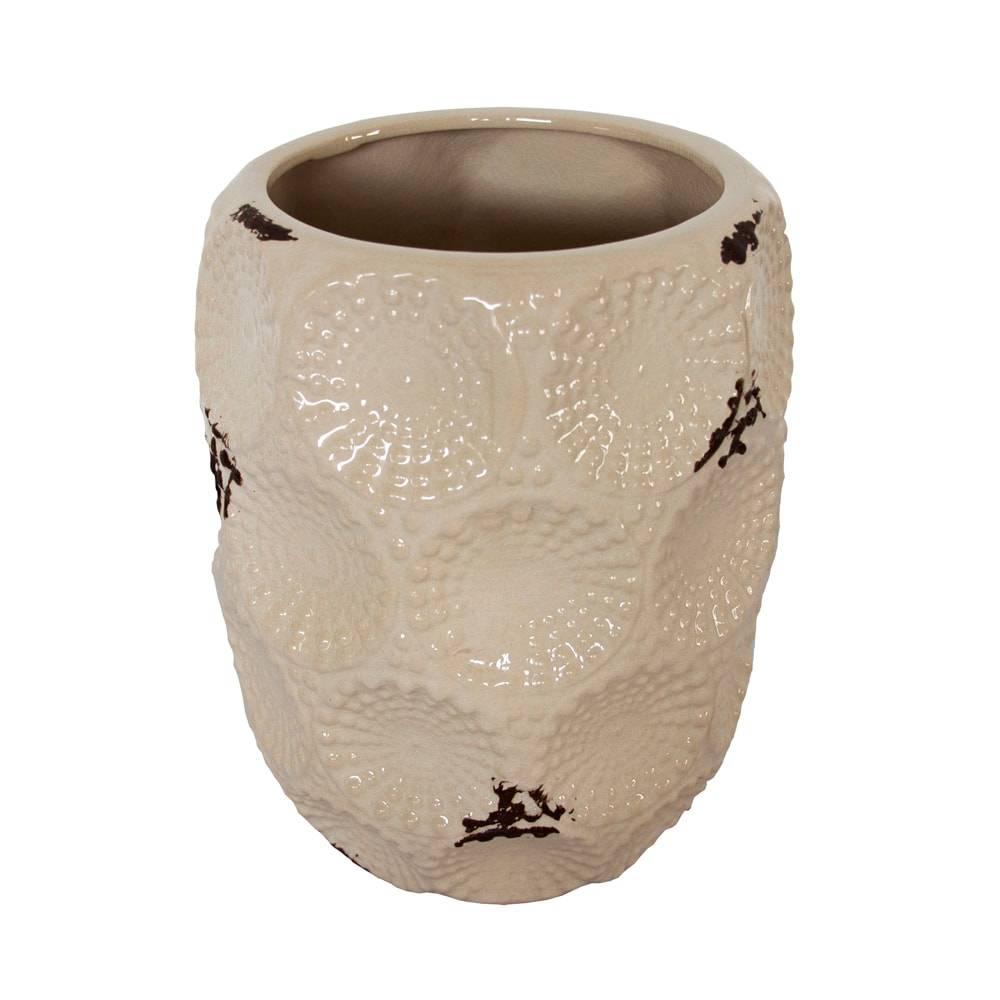 Vaso Mirella Branco Pátina c/ Baixo Relevo em Cerâmica - 23x18 cm