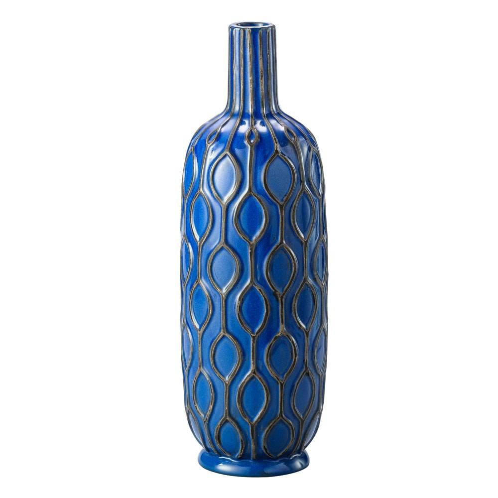 Vaso Moline Azul Royal em Cerâmica - Lyor Classic - 33x12 cm