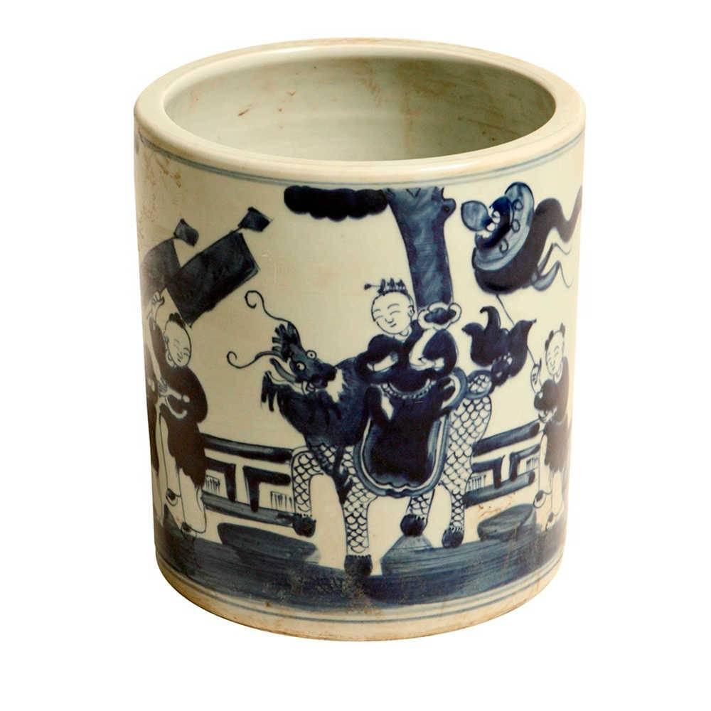 Vaso Monges e Dragão Azul em Porcelana - 22x20 cm