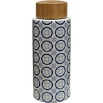 Vaso Mosaico Grande Azul e Branco em Cerâmica - 32x12x12 cm