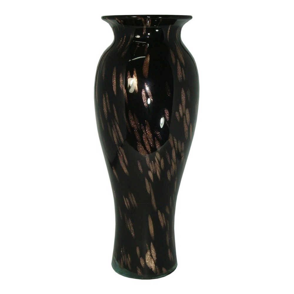 Vaso Nero Lord Médio Preto em Vidro - 40x16 cm