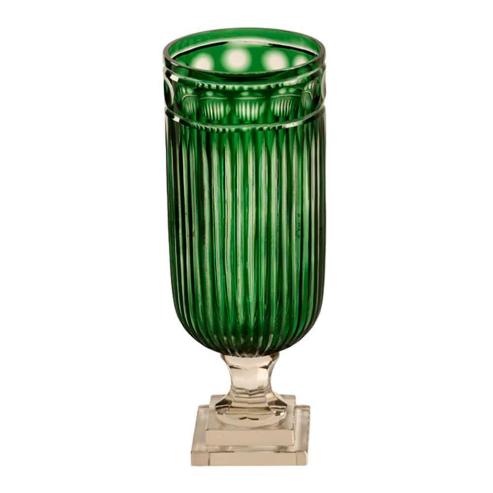 Vaso Nueces Verde em Vidro - 39x15 cm