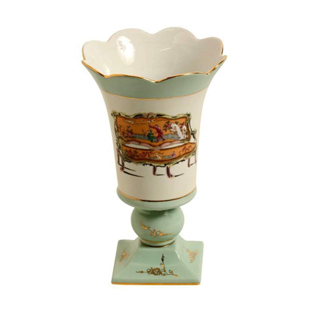 Vaso Old Nuvem Verde Claro em Porcelana - 25x15 cm