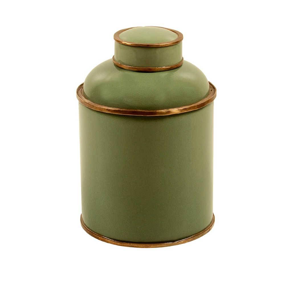 Vaso Oliva Verde Grande em Porcelana com Detalhes em Metal Banhado a Bronze - 32x26 cm