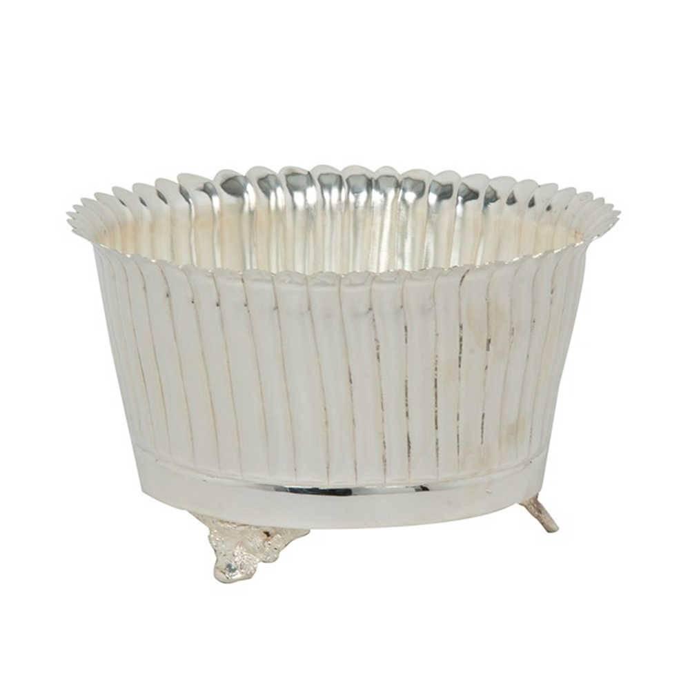 Vaso Ondulations Médio em Metal Banhado a Prata - 22x13 cm
