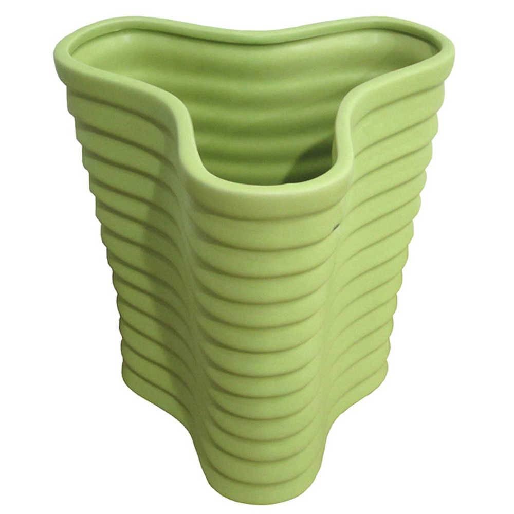 Vaso Ondule Verde Pequeno em Cerâmica - Urban - 21x18 cm