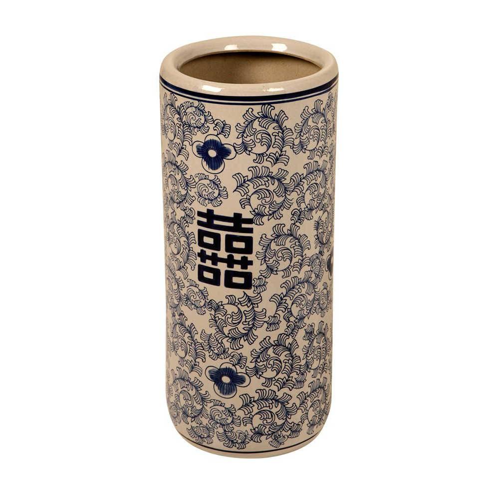Vaso Oriental Azul Longilíneo Médio em Porcelana - 47x21 cm