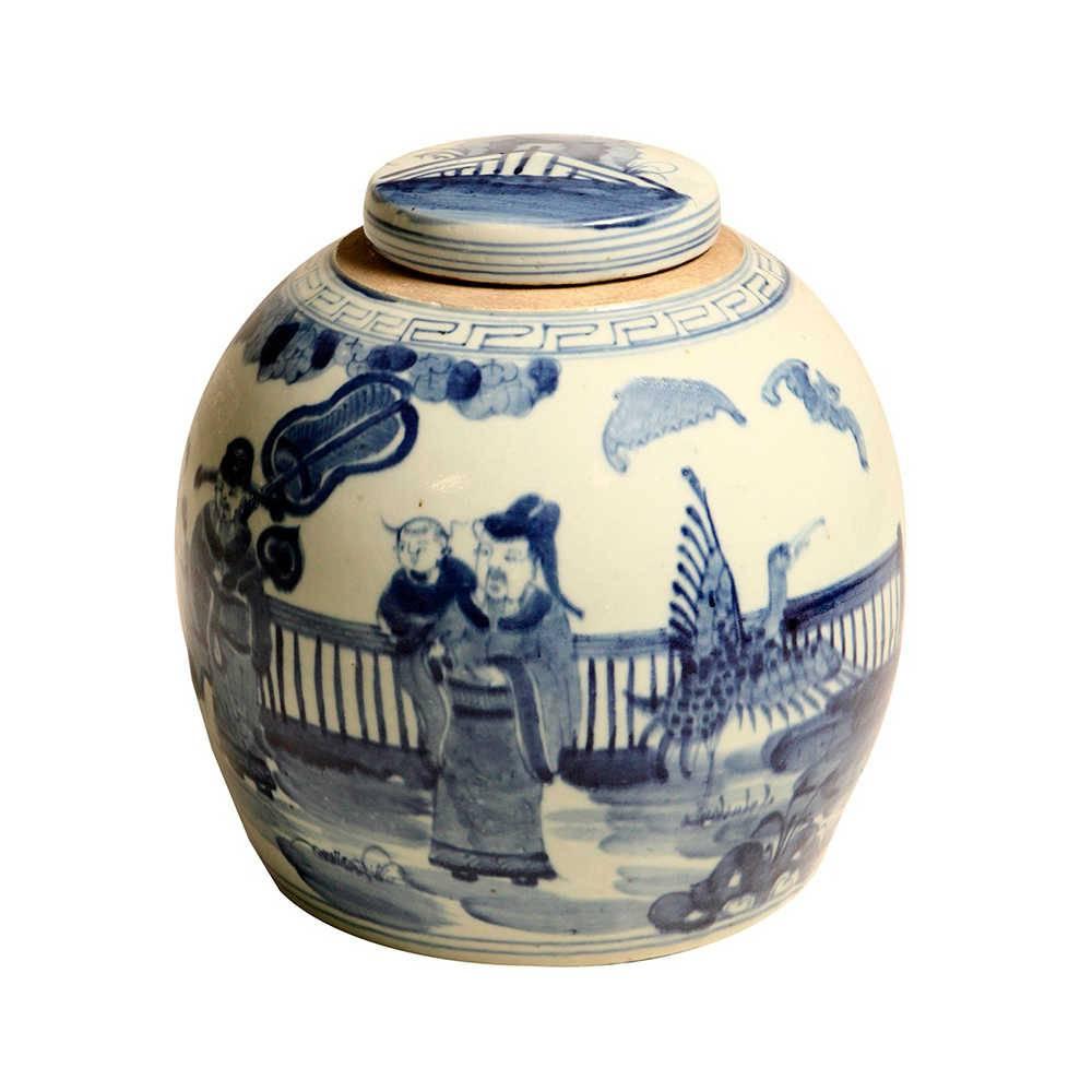 Vaso Oriental Monges Redondo Azul e Branco Médio em Porcelana - 28x27 cm