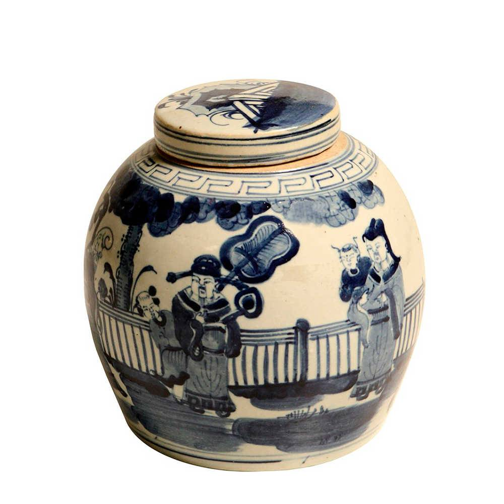 Vaso Oriental Monges Redondo Azul e Branco Pequeno em Porcelana - 23x22 cm