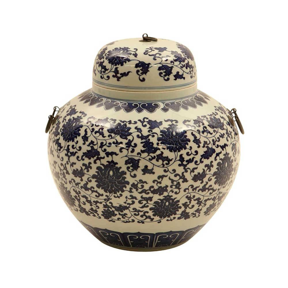 Vaso Oriental Redondo Azul Pintado a Mão em Porcelana - 37x30 cm