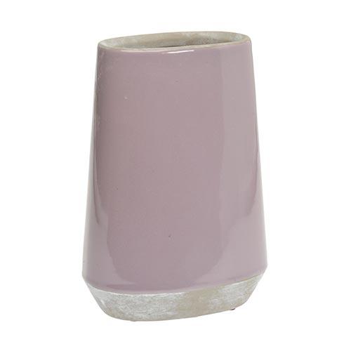Vaso Oval Lilás Médio em Cerâmica - 28x18 cm