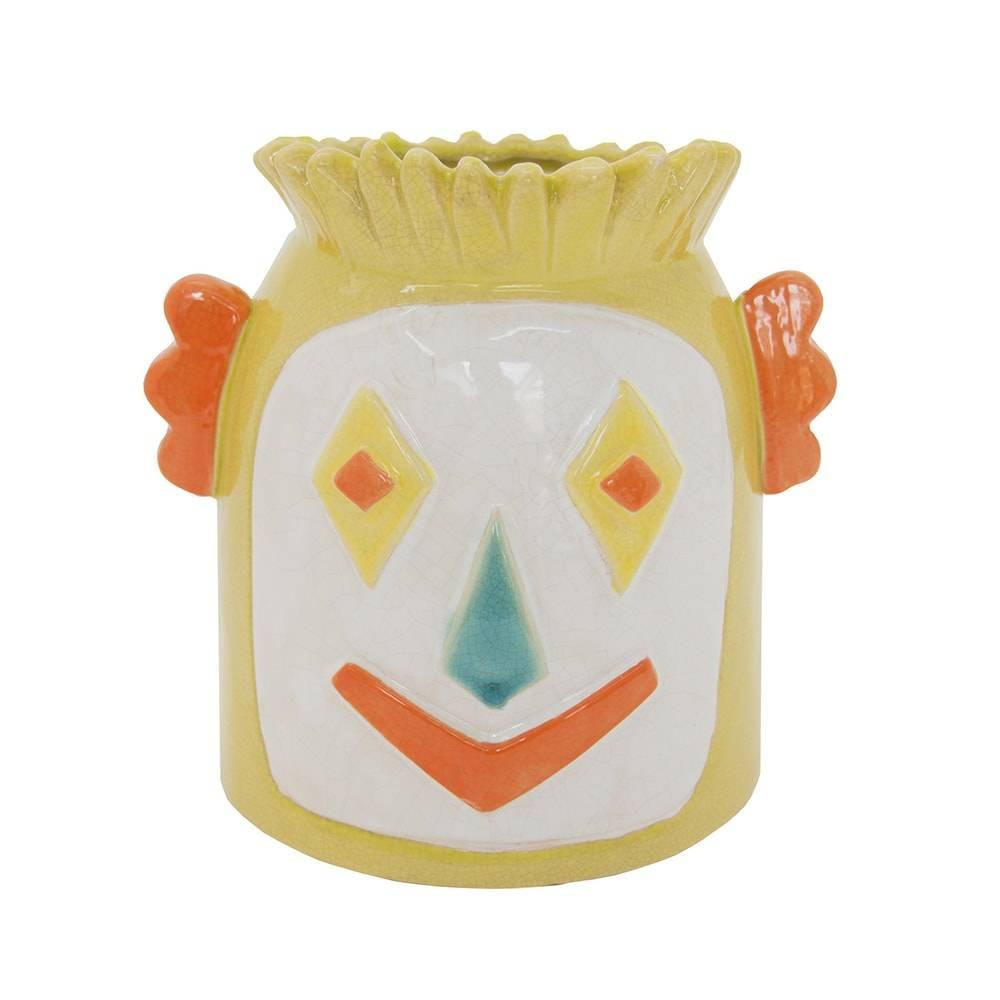 Vaso Palhaço Marsch Colorido em Cerâmica - 20x19 cm