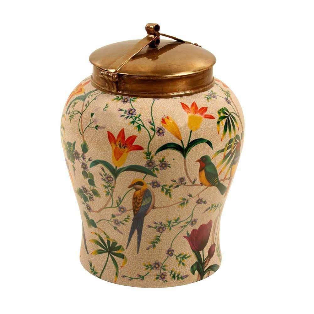 Vaso Pássaros Coloridos com Fundo Bege Grande em Porcelana - 32x26 cm