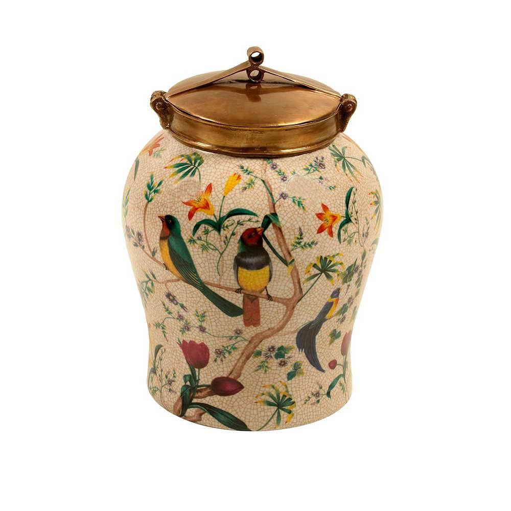 Vaso Pássaros Coloridos com Fundo Bege Médio em Porcelana - 26x23 cm