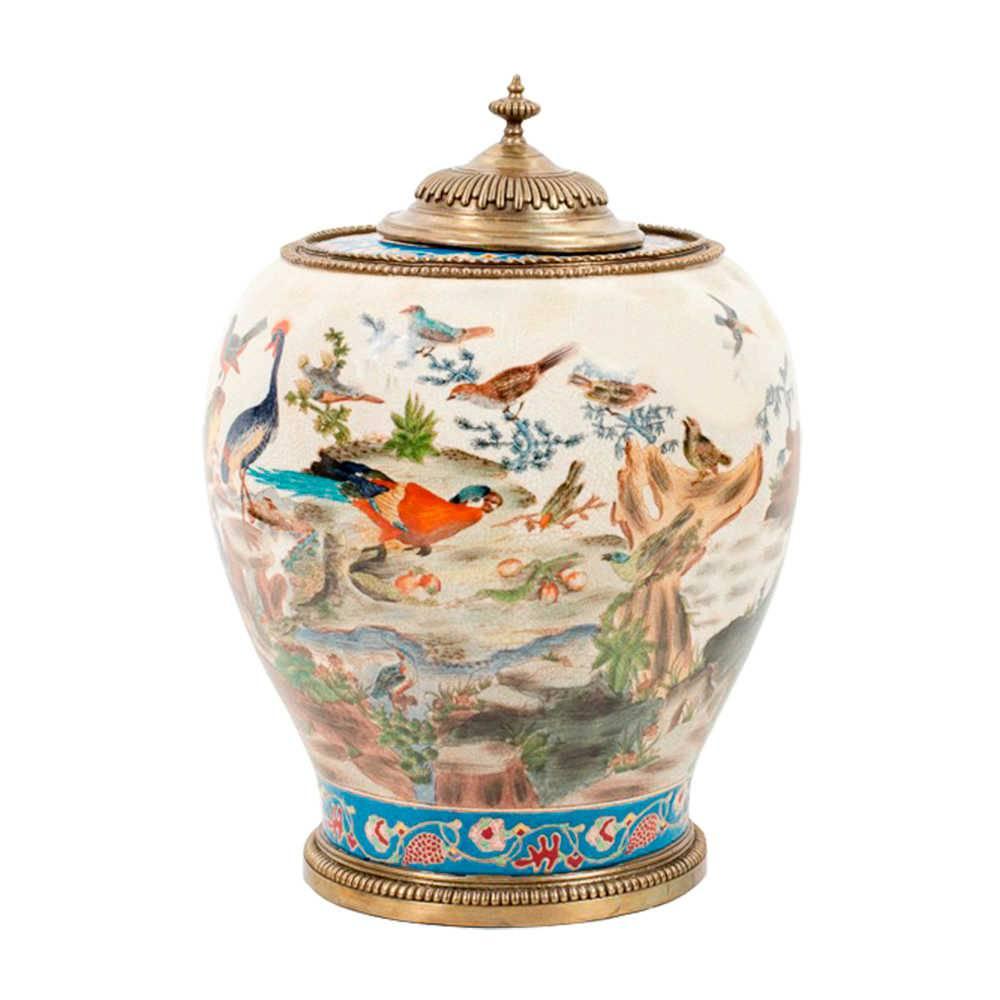 Vaso Pássaros Coloridos em Porcelana - 40x31 cm