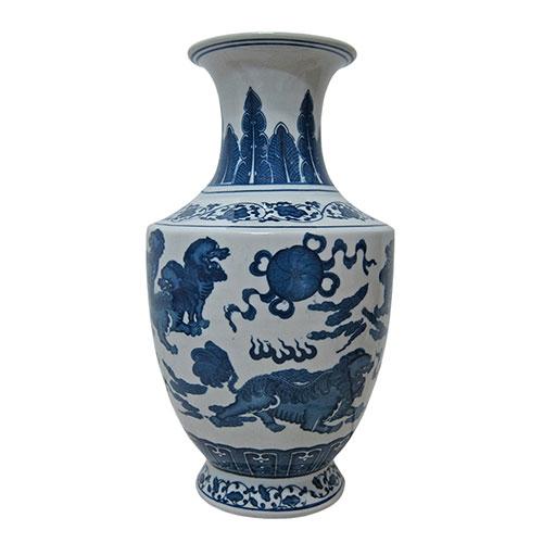 Vaso Pazhou Azul/Branco em Cerâmica - 39x19 cm