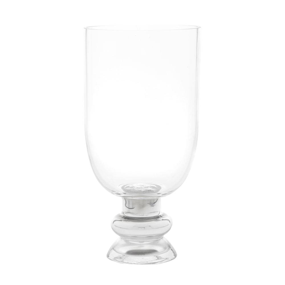 Vaso com Pé Chalice Transparente em Vidro - 29x15 cm