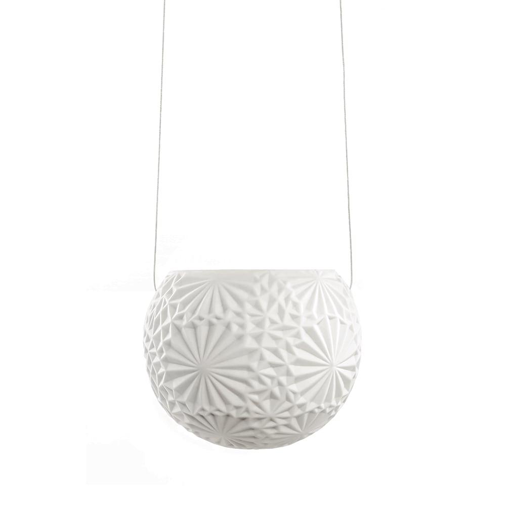 Vaso Pendente com Alto Relevo Branco em Porcelana - 10,5x11 cm