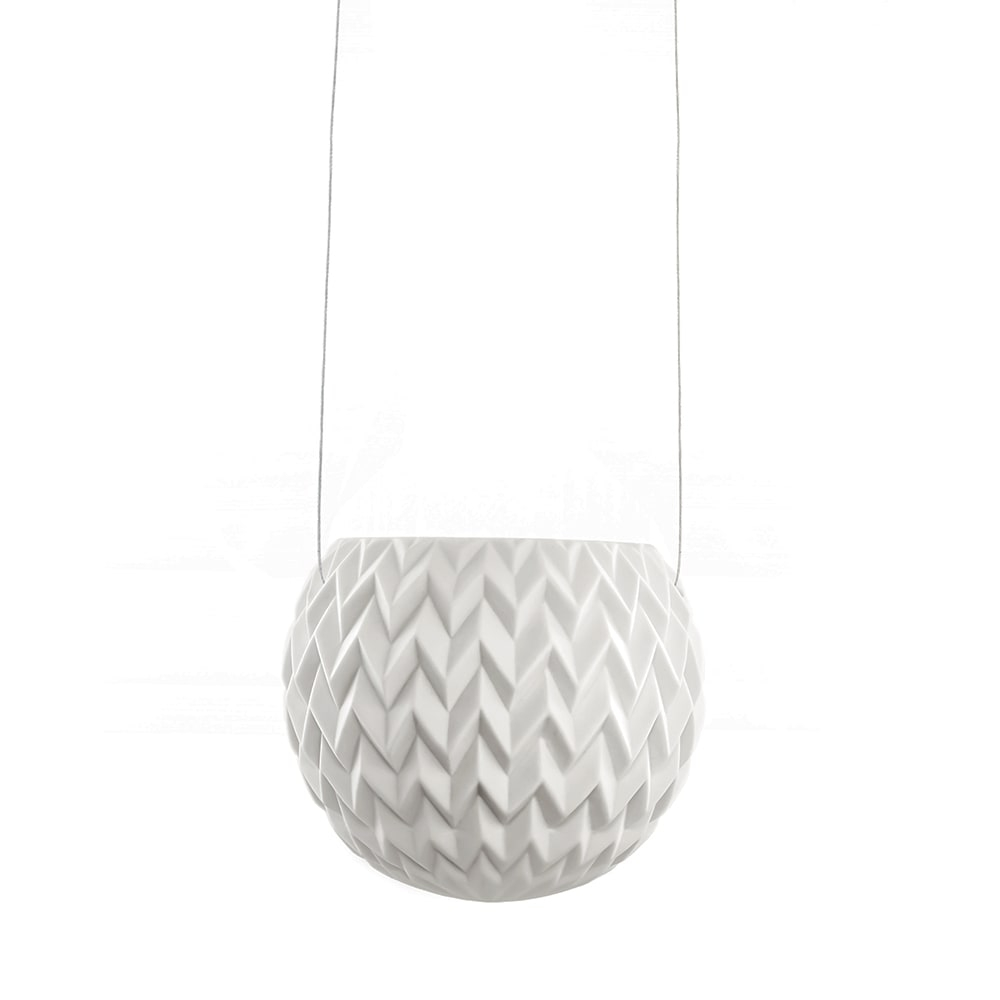 Vaso Pendente com Alto Relevo Chevron Branco em Porcelana - 11x11 cm