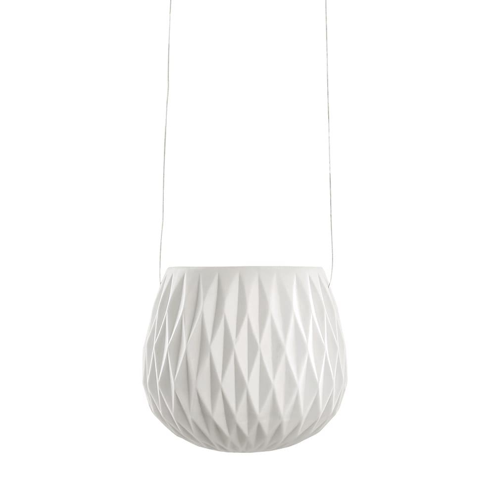 Vaso Pendente com Alto Relevo Losangos Branco em Porcelana - 10,5x11 cm
