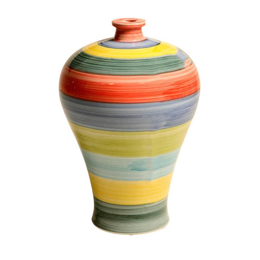 Vaso Pião Colorido Pintado a Mão em Porcelana - 40x26 cm