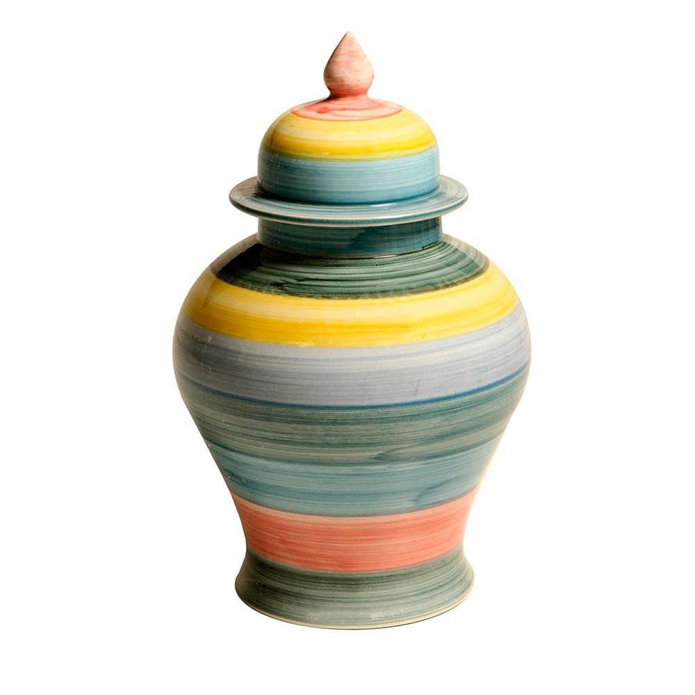 Vaso Pião com Tampa Colorido Pintado a Mão em Porcelana - 40x26 cm