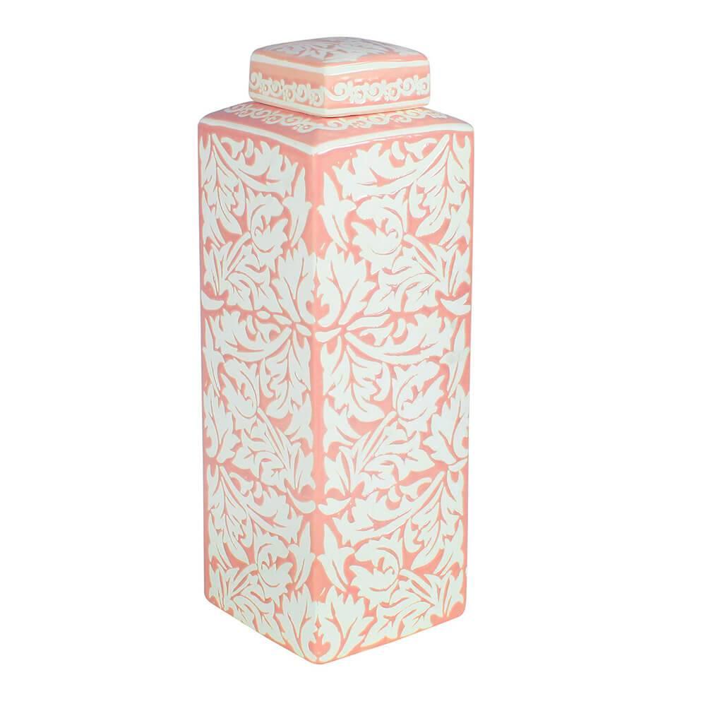 Vaso Pinky Indian Grande Branco e Rosê em Cerâmica - Urban - 43x14,5 cm