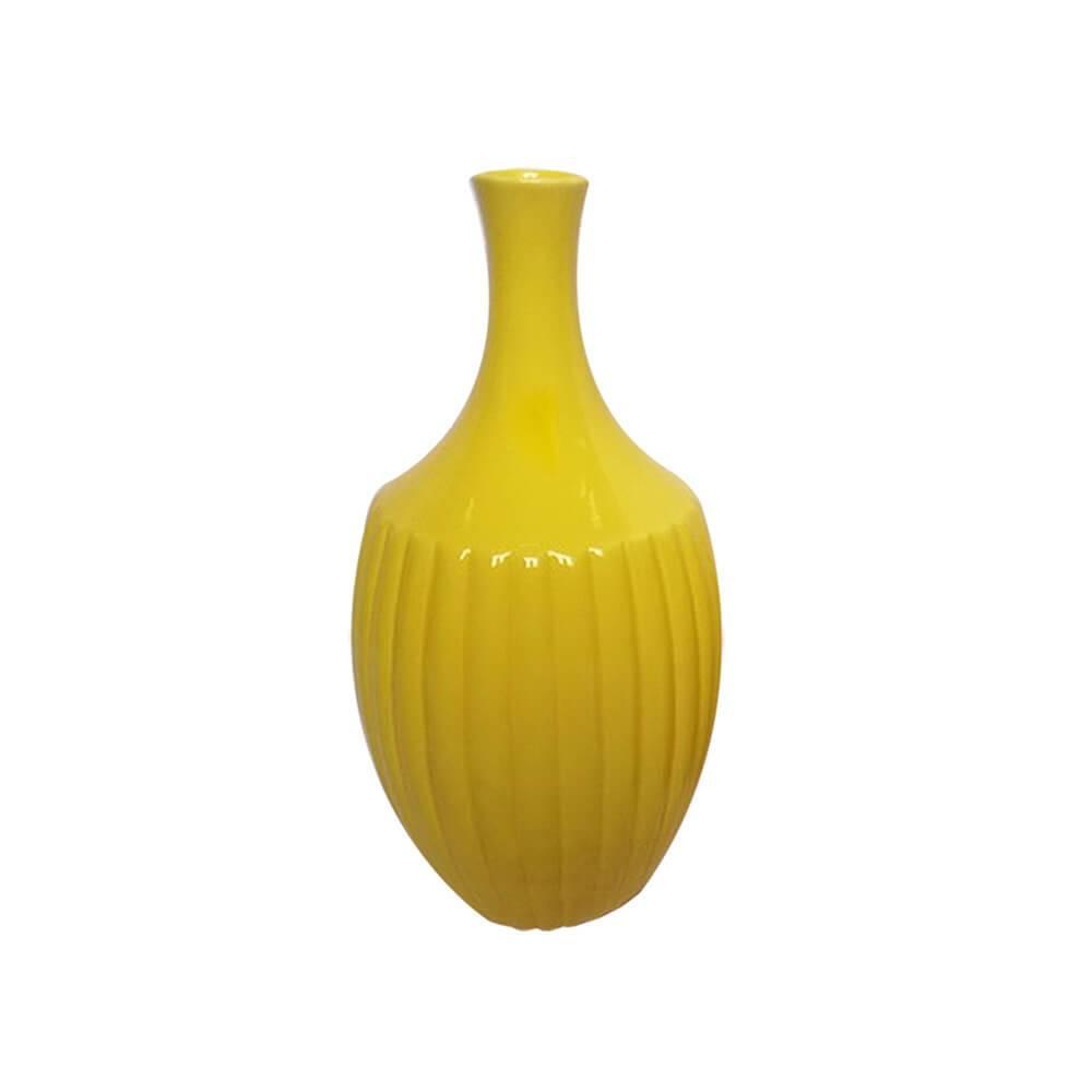 Vaso Pleat Amarelo Grande em Cerâmica - Urban - 33,5x16,5 cm