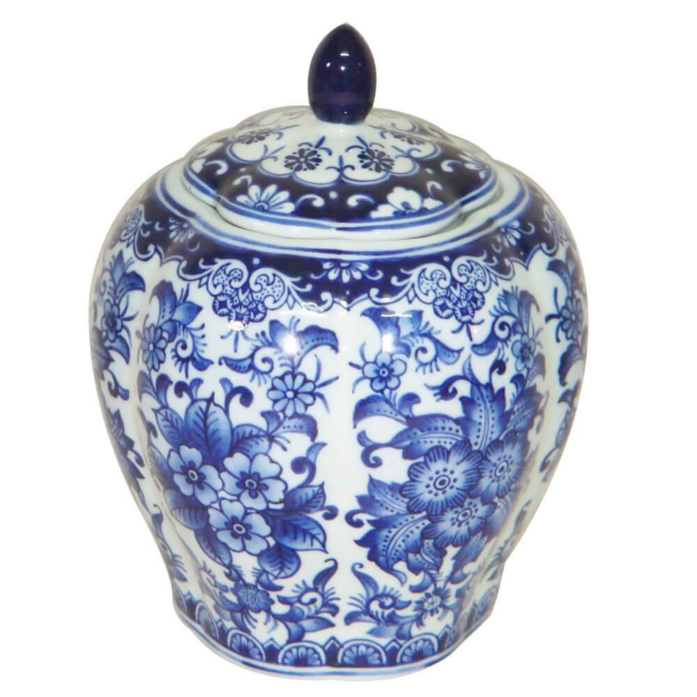 Vaso Pote Blue Spirit Bojudo Azul e Branco Pequeno em Porcelana - Urban - 20,8x16,3 cm