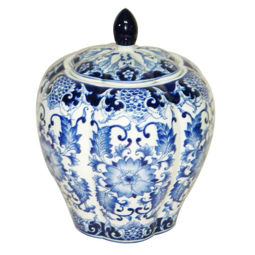 Vaso Pote Blue Spirit Bojudo Azul/Branco Grande em Porcelana - Urban - 28,8x23 cm