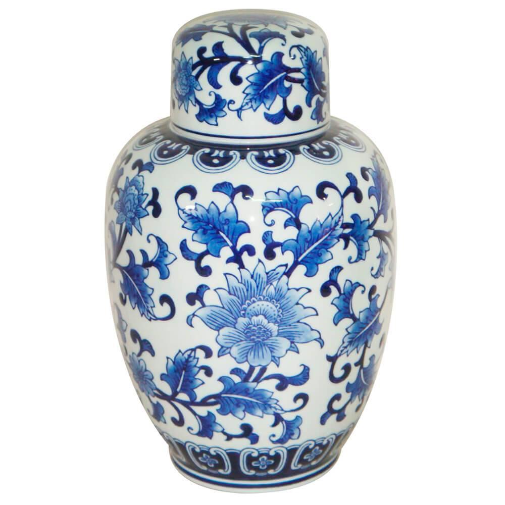 Vaso Pote Blue Spirit Giant Jug Look Azul e Branco em Porcelana - Urban - 32,5x20 cm