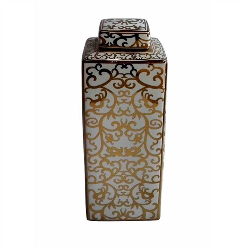Vaso/ Pote Royal Quadrado Dourado e Branco Grande em Cerâmica - 40x16 cm