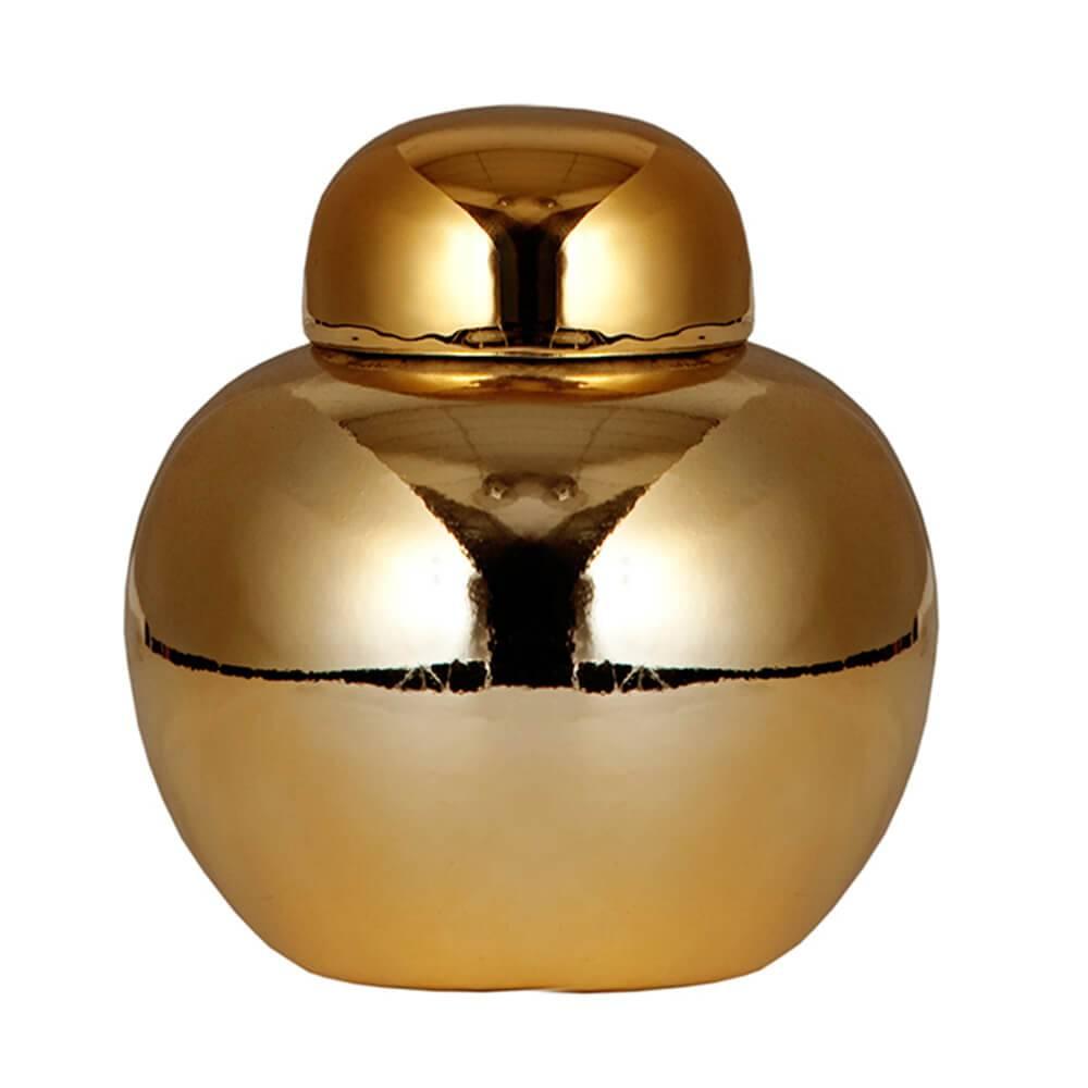 Vaso Pote com Tampa Ball Chinese Style Dourado em Cerâmica - Urban - 12x10 cm