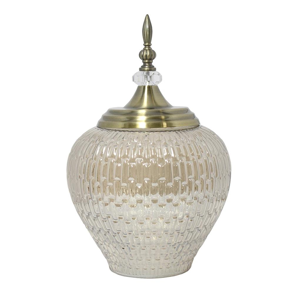 Vaso Potiche Antares Grande Transparente e Dourado em Vidro - 36,5x23 cm
