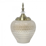 Vaso Potiche Antares PequenoTransparente e Dourado em Vidro