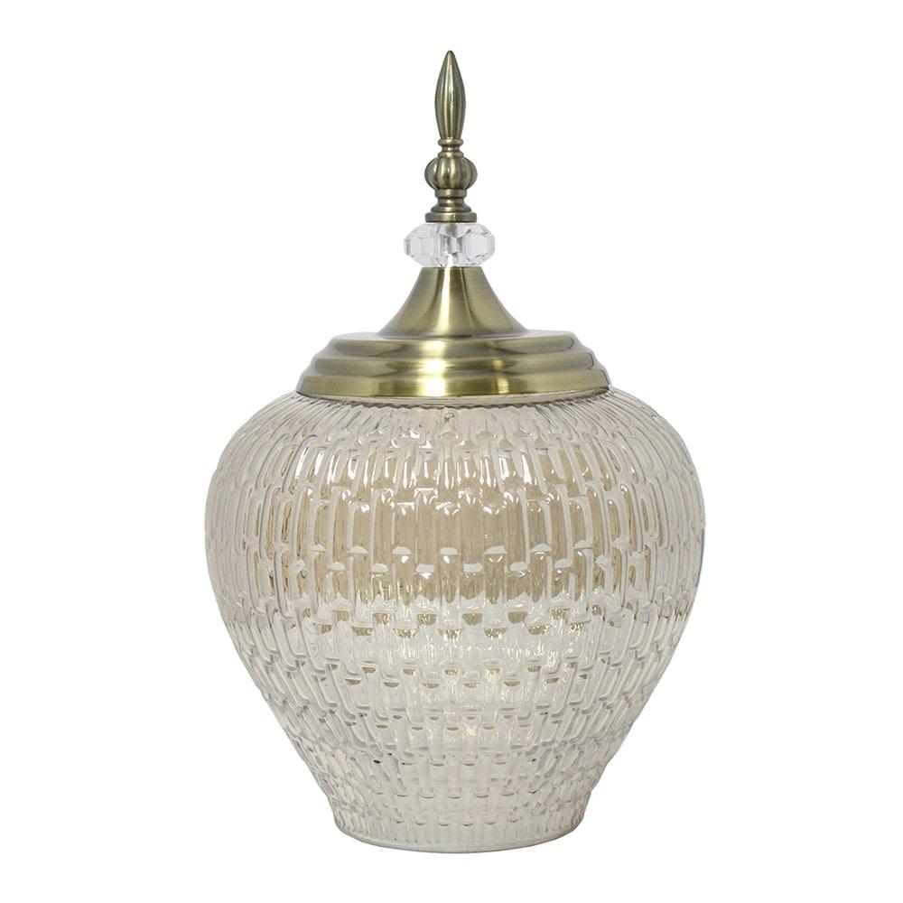 Vaso Potiche Antares PequenoTransparente e Dourado em Vidro - 28x17,5 cm