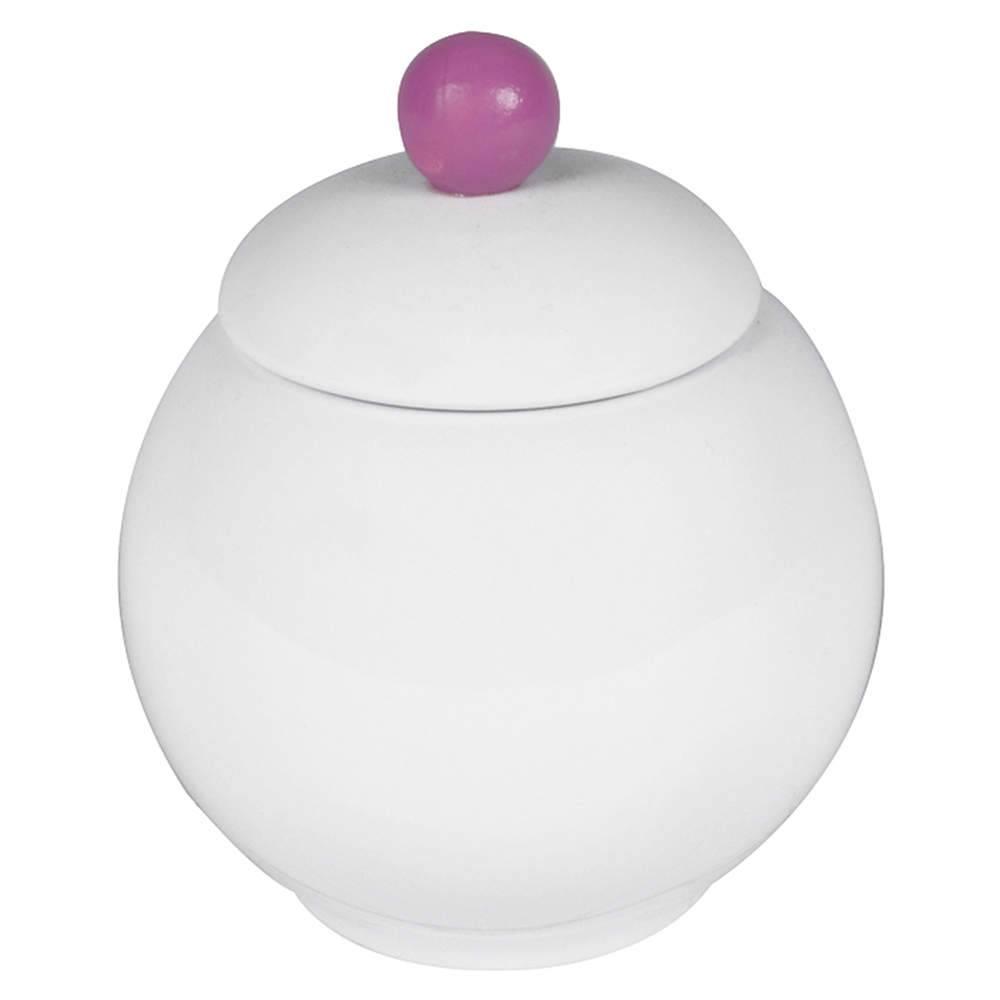Vaso Potiche Bubble Branco e Roxo em Cerâmica - 11x9 cm