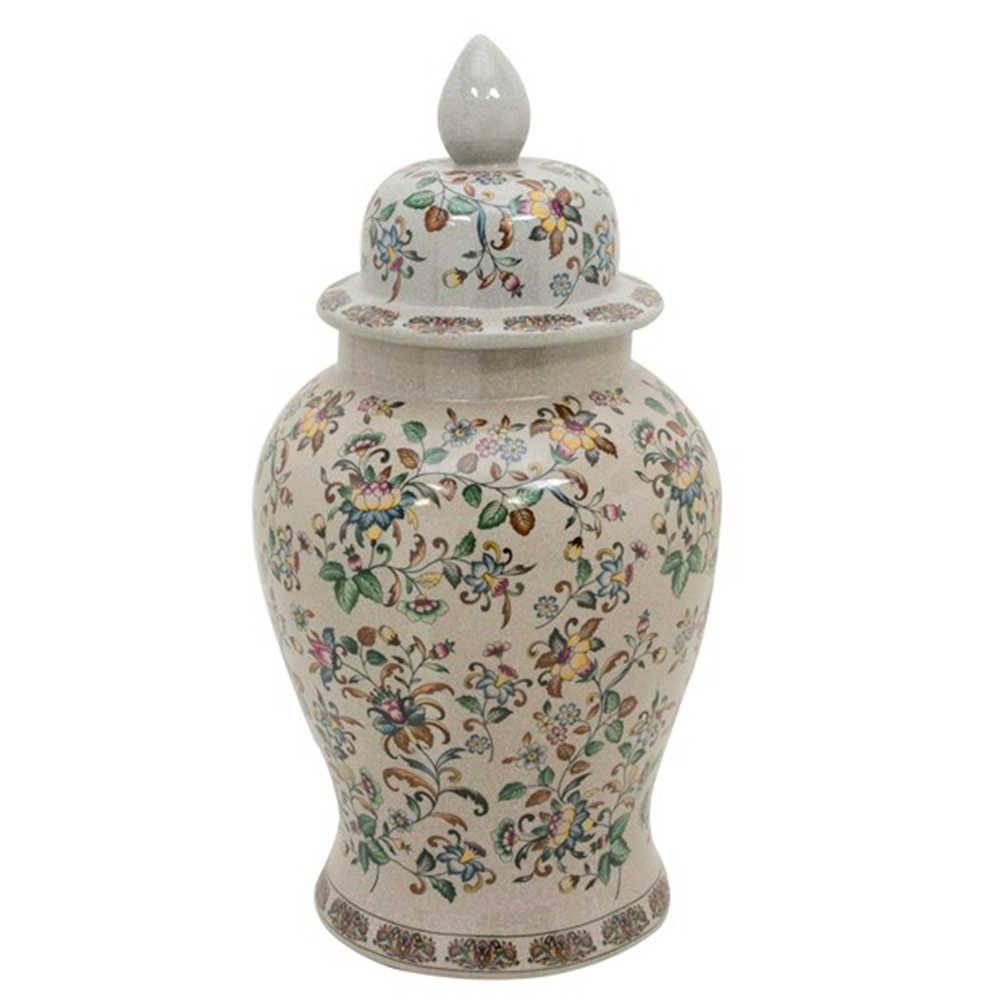 Vaso Potiche Delicate em Porcelana com Estampa Floral Pintada a Mão - Grande - 63x31 cm