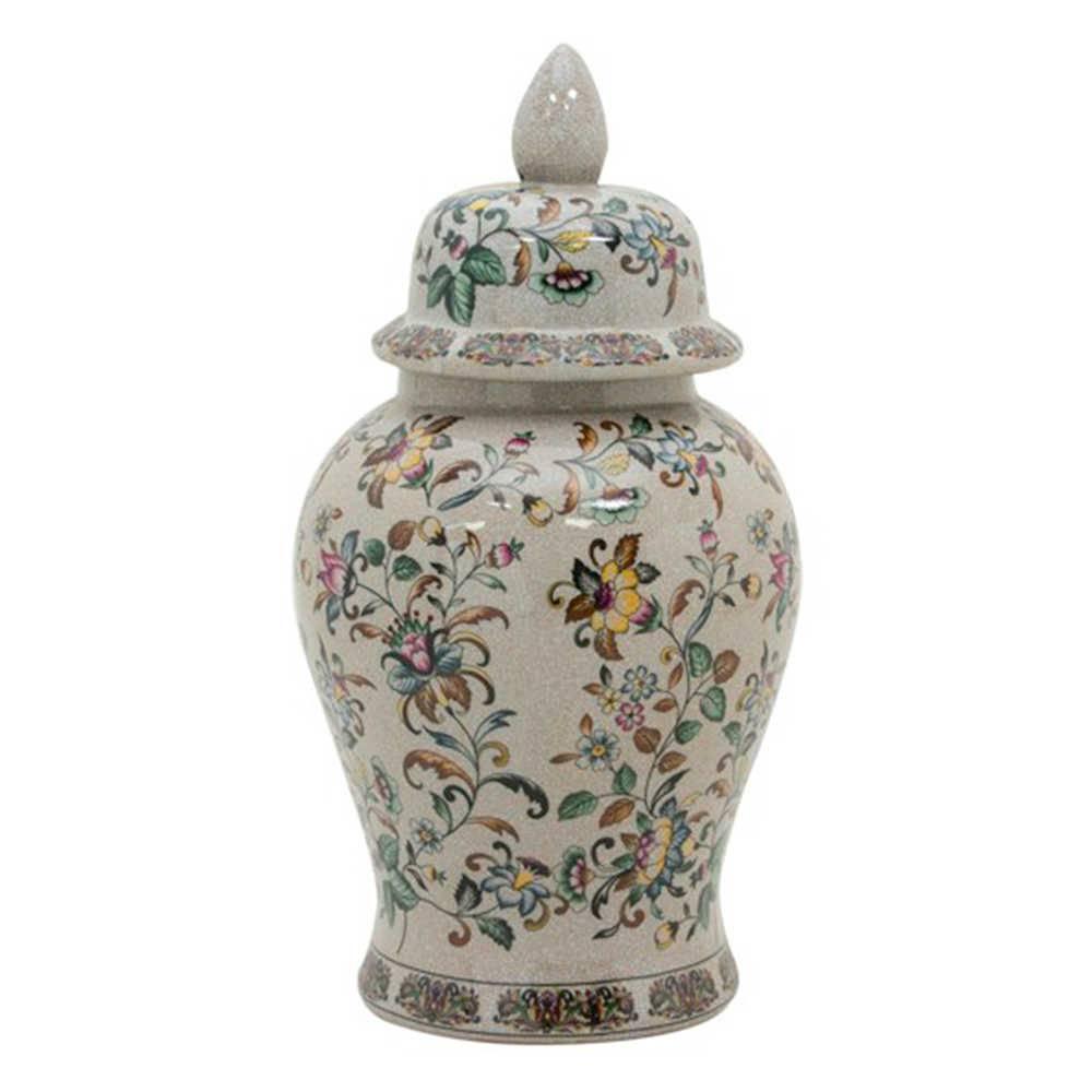 Vaso Potiche Delicate em Porcelana com Estampa Floral Pintada a Mão - Médio - 47x22 cm