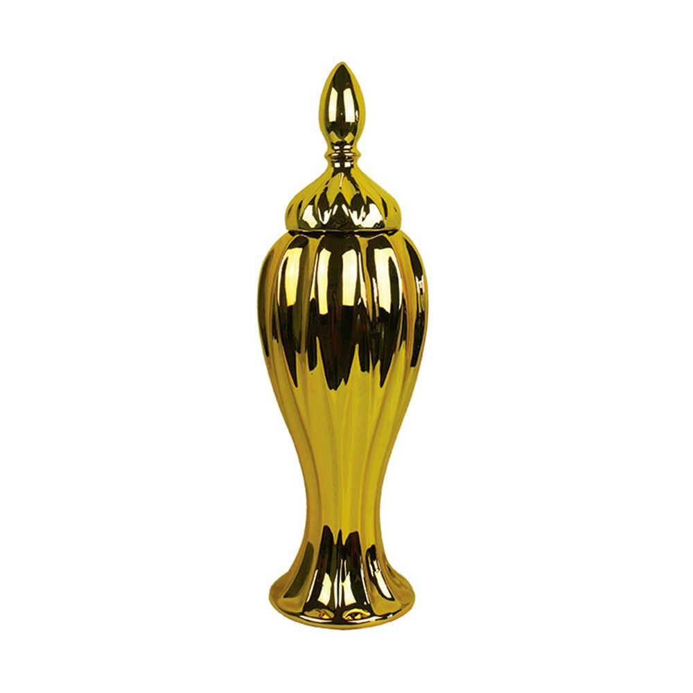 Vaso Potiche Greek Dourado em Cerâmica - Urban - 45x15 cm