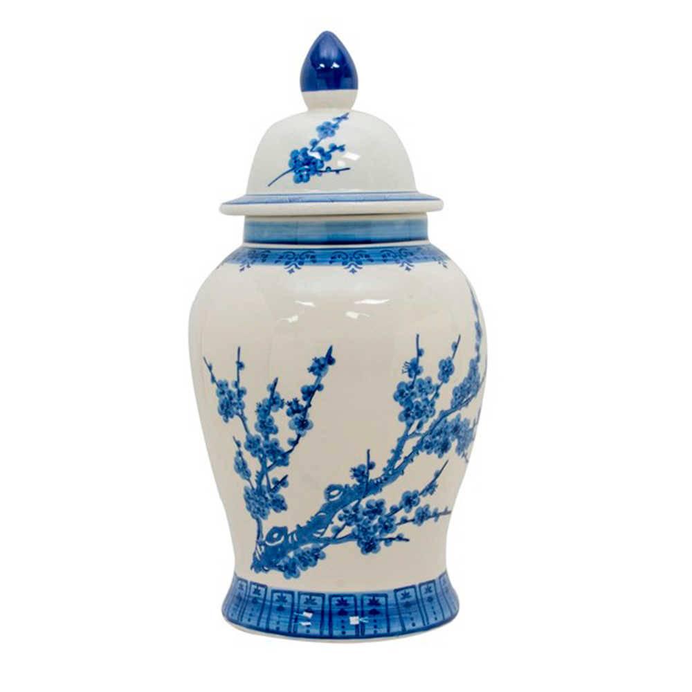 Vaso Potiche Hana Branco e Azul em Porcelana - Pintado a Mão - 60x29 cm