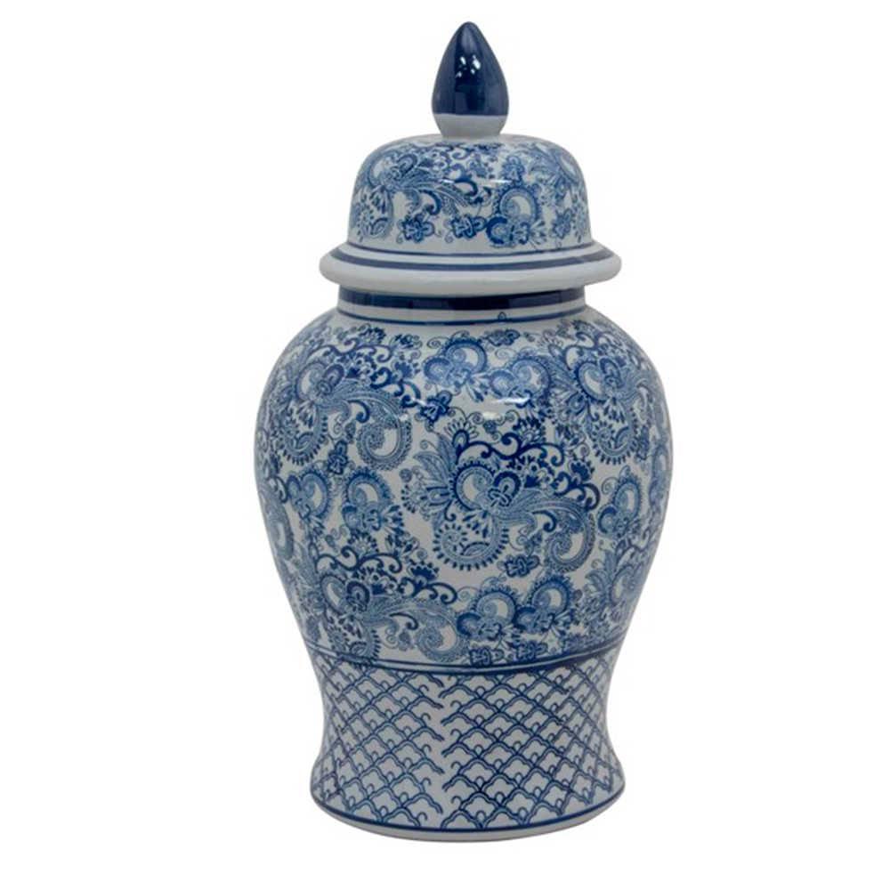 Vaso Potiche Lenna Azul e Branco em Porcelana - Pintado a Mão - 46x24 cm