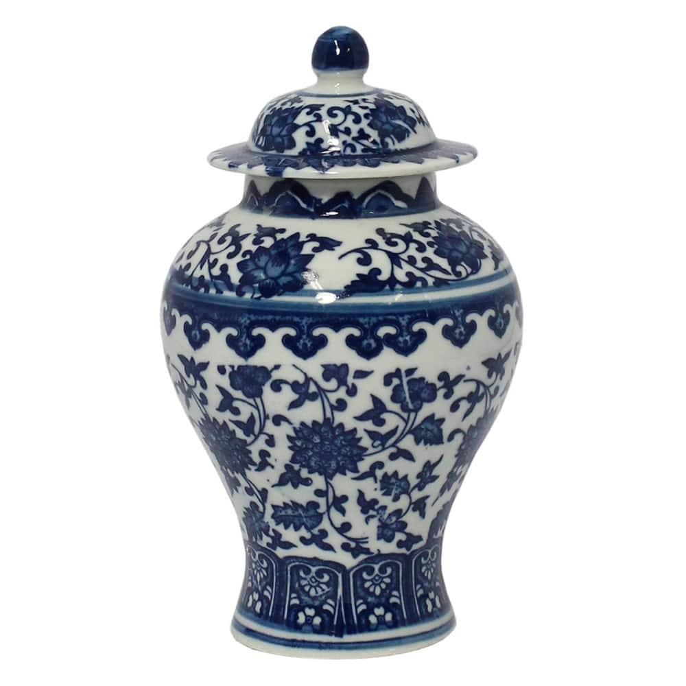 Vaso Potiche Tianjin Pequeno Branco e Azul em Porcelana - 17x10 cm