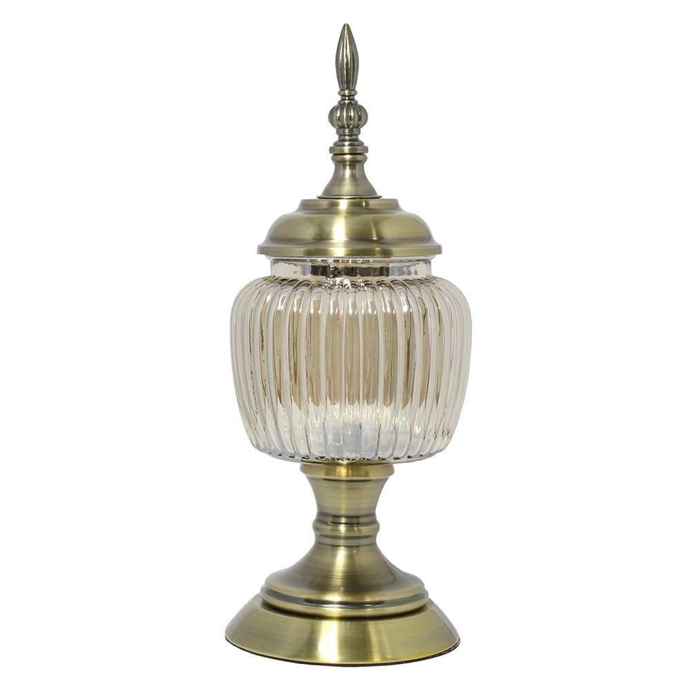 Vaso Potiche Vega Pequeno Transparente e Dourado em Vidro - 38x14,5 cm